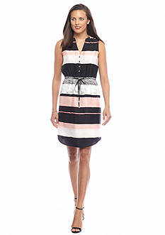 IVANKA TRUMP Colorblock Shirt Dress
