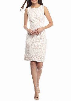 IVANKA TRUMP Embroidered Mesh with Sequin Sheath Dress