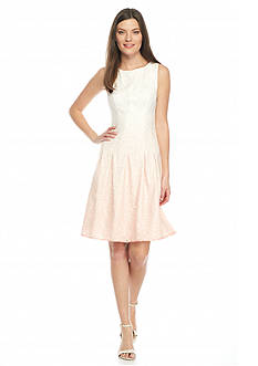 IVANKA TRUMP Ombre Lace Fit and Flare Dress