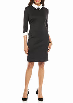 IVANKA TRUMP Two-Tone Scuba Sheath Dress