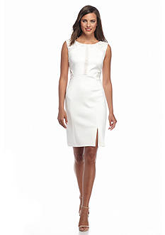 IVANKA TRUMP Scuba with Lace Sheath Dress