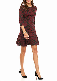 IVANKA TRUMP Printed Jacquard Sheath Dress with Flounce Hem
