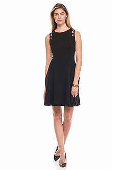 IVANKA TRUMP Crepe Fit and Flare with Grommets