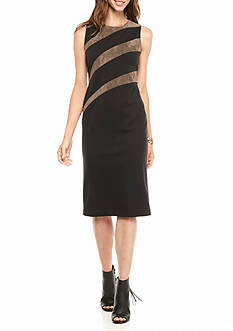 IVANKA TRUMP Ponte and Faux Suede Insets Sheath Dress