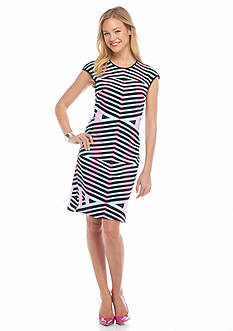 maia Striped Pique Sheath Dress