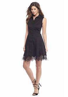 maia Crochet Trim Shirt Dress