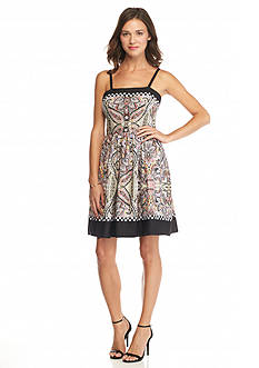 maia Printed Crept Fit and Flare Dress