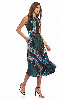 maia Printed Fit and Flare Dress