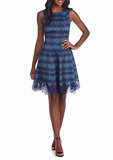 maia Printed Fit and Flare Dress with Lace Hem
