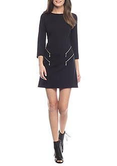 maia Three-Quarter Sleeve Shift Dress