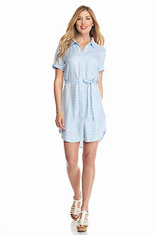 ALLEN B. BY ALLEN SCHWARTZ Gingham Twill Shirt Dress