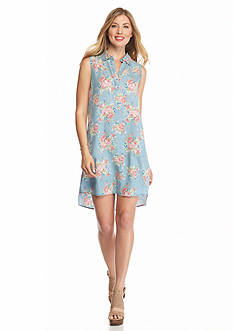 ALLEN B. BY ALLEN SCHWARTZ Floral Printed Shirt Dress