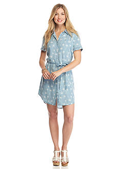 ALLEN B. BY ALLEN SCHWARTZ Palm Tree Print Shirt Dress