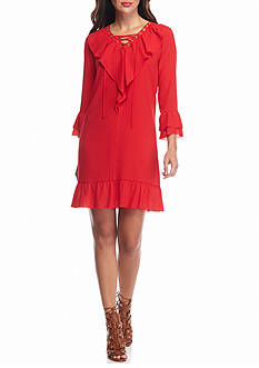 ALLEN B. BY ALLEN SCHWARTZ Lace-Up Ruffle Chiffon Dress