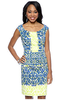 Adrianna Papell Sleeveless Printed Sheath Dress