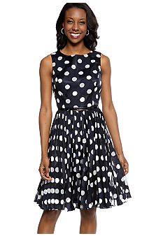 Adrianna Papell Sleeveless Burn Out Dot Belted Dress