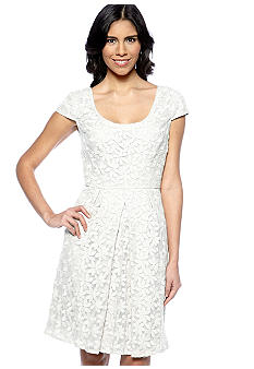 Adrianna Papell Cap-Sleeved Floral Embroidered Fit and Flare Dress