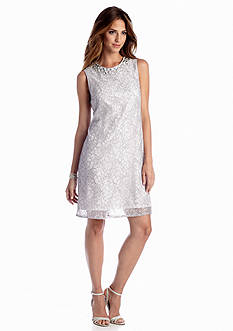 Adrianna Papell Sleeveless Allover Lace Shift Dress