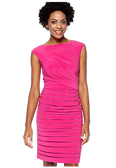 Adrianna Papell Cap-Sleeved Illusion Shutter Sheath Dress
