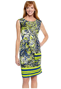 Adrianna Papell Cap-Sleeved Printed Chiffon Dress
