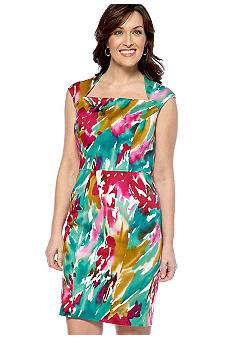 Adrianna Papell Cap-Sleeved Printed Sheath Dress