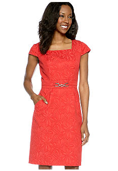 Adrianna Papell Cap-Sleeved Floral Jacquard Sheath Dress