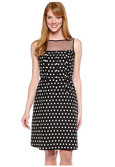 Adrianna Papell Sleeveless Illusion Neckline Polka Dot Dress
