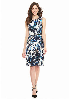 Adrianna Papell Floral Printed Fit-and-Flare Dress