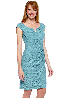 Adrianna Papell Cap-Sleeved Allover Lace Sheath Dress
