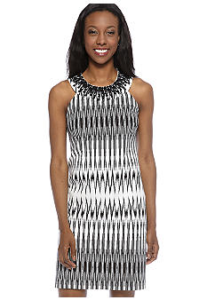Adrianna Papell Sleeveless Printed Sheath Dress with Beaded Neckline