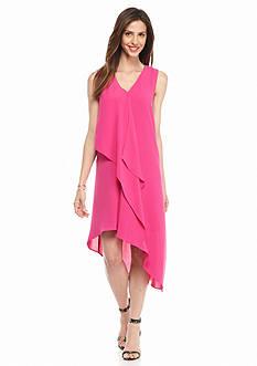Adrianna Papell Cascade Ruffle Front Dress