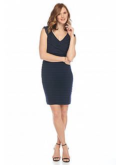 Adrianna Papell Shutter Pleated Sheath Dress
