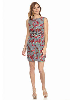 Adrianna Papell Printed Belted Fit and Flare Dress