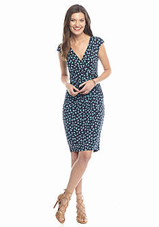 Adrianna Papell Printed Surplice Neckline Dress