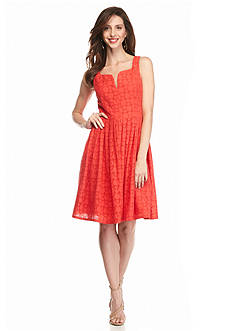 Adrianna Papell Eyelet Fit and Flare Dress