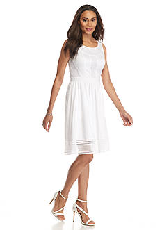 Adrianna Papell Lace Trim Fit and Flare Dress