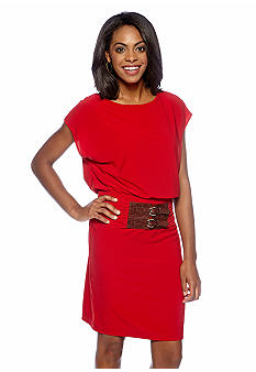 Adrianna Papell Cap-Sleeved Blouson Dress