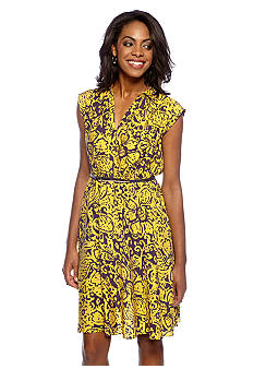 Adrianna Papell Cap-Sleeved Belted Shirtdress