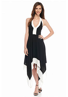 Adrianna Papell Colorblock Hankie Hem Halter Dress