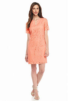Adrianna Papell Eyelet Shift Dress
