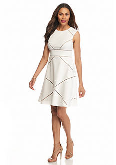 Adrianna Papell Textured Knit Fit and Flare Dress