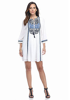 Adrianna Papell Embroidered Tunic Dress