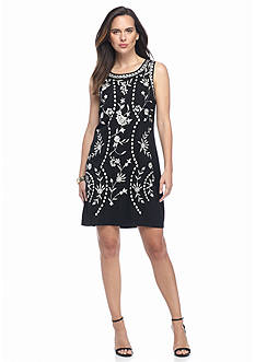 Adrianna Papell Floral Embroidered Shift Dress