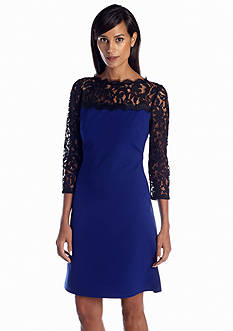 Adrianna Papell Three Quarter Sleeve Shift Dress with Lace