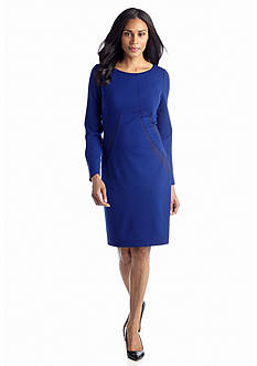 Adrianna Papell Long-Sleeve Sheath Dress