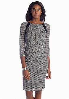 Adrianna Papell Three Quarter Sleeve Printed Sheath Dress