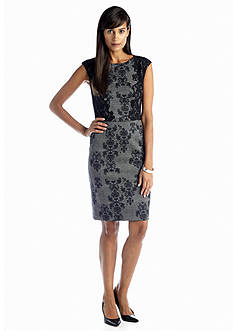Adrianna Papell Printed Sheath Dress with Lace