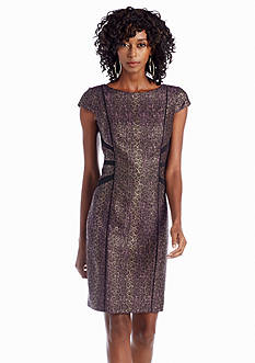 Adrianna Papell Printed Jacquard Sheath Dress