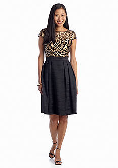 Adrianna Papell Baroque Leather Illusion Fit and Flare Dress