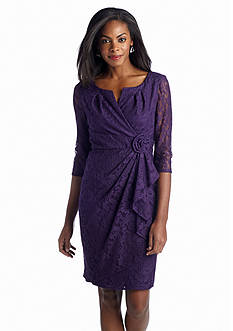 Adrianna Papell Three Quarter Sleeve Allover Lace Dress